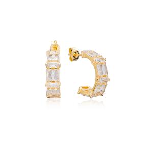 Trendy Baguette Stud Design Hoop Earrings Turkish Handmade Wholesale 925 Sterling Silver Jewelry