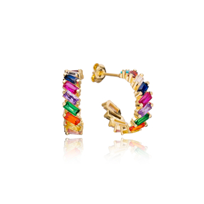 Unique Rainbow Zirconia Stone Baguette Stud Design Hoop Earrings Turkish Handmade Wholesale 925 Sterling Silver Jewelry