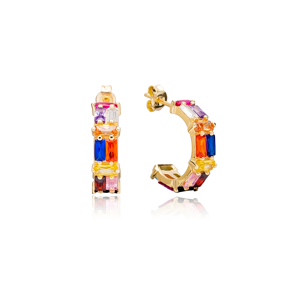 Stylish Rainbow Zirconia Stone Baguette Stud Design Hoop Earrings Turkish Handmade Wholesale 925 Sterling Silver Jewelry