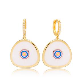 White Enamel Cute Design Handcrafted Turkish Wholesale 925 Sterling Silver Dangle Earrings Jewelry
