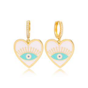 Cute Heart Shape Enamel Evil Eye Design Handcrafted Turkish Wholesale 925 Sterling Silver Dangle Earrings Jewelry