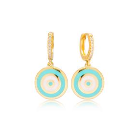 Trendy Enamel Charm Cute Design Handcrafted Turkish Wholesale 925 Sterling Silver Dangle Earrings Jewelry