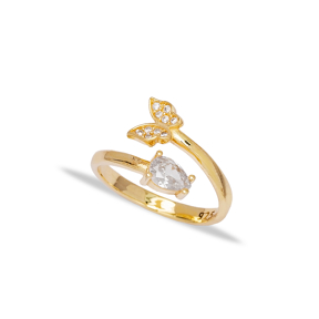 Elegant Butterfly Design Zirconia Stone Adjustable Ring Turkish Wholesale 925 Silver Sterling Jewelry