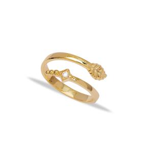 Stylish Leaf Design Zirconia Stone Adjustable Ring Turkish Wholesale 925 Silver Sterling Jewelry