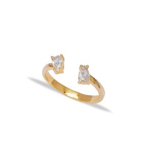 Elegant Double Drop Design Zirconia Stone Adjustable Ring Wholesale 925 Silver Sterling Jewelry