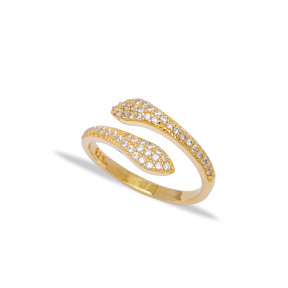 Trendy Two Head Zirconia Snake Design Adjustable Ring Turkish Wholesale 925 Sterling Silver Jewelry