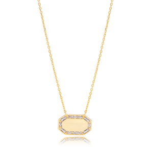 Geometric Style Octagon Shape Baguette Zirconia Charm Pendant Necklace Turkish 925 Sterling Silver Jewelry