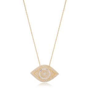 Stylish Evil Eye Style Zirconia Charm Pendant Necklace Turkish 925 Sterling Silver Jewelry
