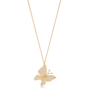 Trendy Butterfly Style Zirconia Charm Pendant Necklace Turkish 925 Sterling Silver Jewelry