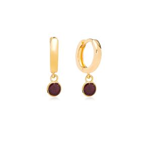 January Birthstone Garnet Charm Earrings Wholesale Turkish 925 Silver Sterling Jewelry