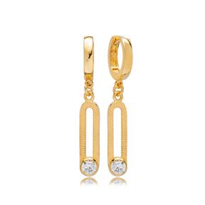 April Zirconia Birthstone Ø12 mm Hoop Dangle Earrings Wholesale Turkish 925 Silver Sterling Jewelry