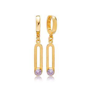 June Alexandrite Birthstone Ø12 mm Hoop Dangle Earrings Wholesale Turkish 925 Silver Sterling Jewelry