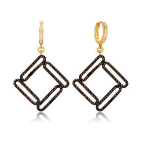 Trendy Geometric Design Black Zirconia Stone Silver Dangle Earrings Wholesale Turkish Sterling Silver Jewelry