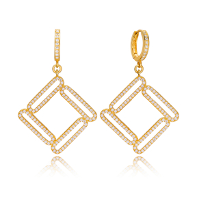 Stylish Geometric Design Zirconia Stone Silver Dangle Earrings Wholesale Turkish Sterling Silver Jewelry