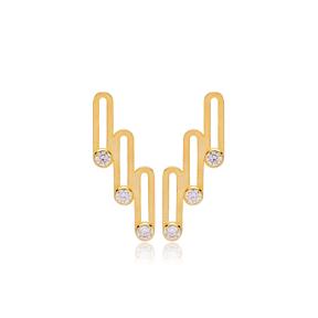 Stylish Geometric Design Multi Zirconia Stone Stud Earrings Turkish Handmade 925 Sterling Silver Jewelry