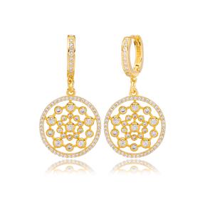Luxury Round Style Dangle Earring Turkish Wholesale Handmade 925 Sterling Silver Jewelry