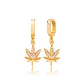 Leaf Design Zircon Stone Detailed Dangle Earrings Turkish Wholesale Handmade 925 Sterling Silver Jewelry