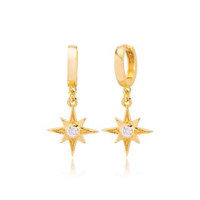 Trendy North Star Design Dangle Earrings Turkish Wholesale Handmade 925 Sterling Silver Jewelry