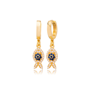 Stylish Fish Design Sapphire and Zircon Stone Detailed Dangle  Earrings  Turkish Wholesale Handmade Sterling Silver Earring