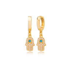 Hamsa Design Zircon and Turquoise Detailed Dangle Earrings Wholesale 925 Sterling Silver Jewelry