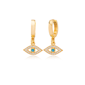 Trendy Evil Eye Design Zircon and Turquoise Stone Detailed Dangle Earrings Turkish Wholesale 925 Sterling Silver Jewelry