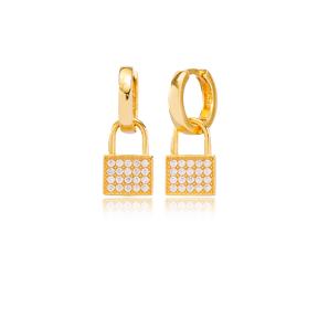 Trendy Padlock Design Ø12mm Hoop Dangle Earrings Turkish Wholesale Handmade 925 Sterling Silver Jewelry