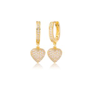 Heart Design Zircon Stone Dangle Earrings Turkish Wholesale Handmade 925 Sterling Silver Jewelry