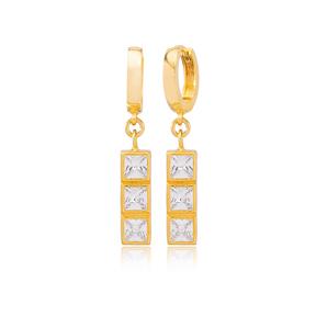 Multi Square Design Zircon Stone Dangle Earrings Turkish Wholesale Handmade 925 Sterling Silver Jewelry