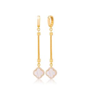 Trendy Mother of Pearl Clover Design Zircon Stone Dangle Long Earrings Wholesale Turkish Handmade 925 Sterling Silver Jewelry