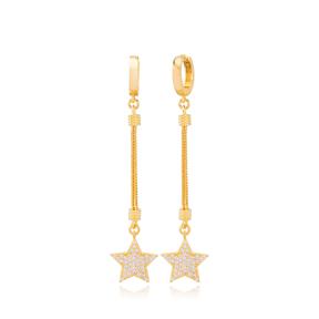 Stylish Star Charm Zircon Stone Dangle Long Earrings Wholesale Turkish Handmade 925 Sterling Silver Jewelry