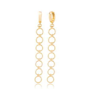 Unique Multi Hoops Design Dangle Long Earrings Wholesale Turkish Handmade 925 Sterling Silver Jewelry