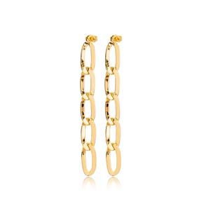 Trendy Chain Charm Design Stud Long Earrings Wholesale Turkish Handmade 925 Sterling Silver Jewelry