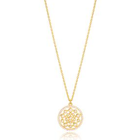 Dainty Round Zirconia Charm Pendant Necklace Turkish 925 Sterling Silver Jewelry