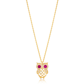 Chic Owl Charm Ruby and Zircon Stone Pendant Necklace Turkish 925 Sterling Silver Jewelry