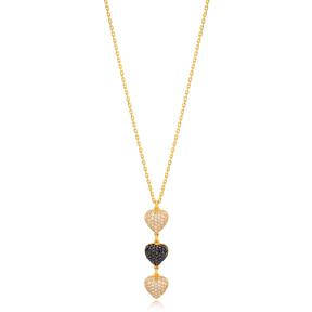 Stylish Multi Heart Charm Zircon Stone Pendant Necklace Turkish 925 Sterling Silver Jewelry