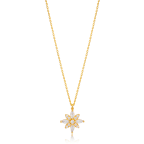 Flower Design Citrine and Zircon Stone Charm Pendant Necklace Turkish 925 Sterling Silver Jewelry