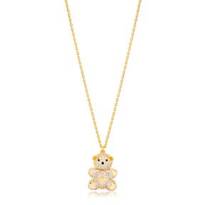 Stylish Bear Design Zircon Stone Animal Charm Pendant Necklace Turkish 925 Sterling Silver Jewelry