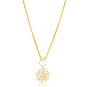 Flower of Life CZ Stone Round Style Pendant Necklace Turkish 925 Sterling Silver Jewelry