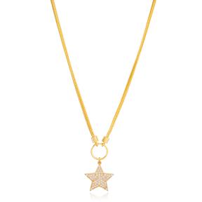 Trendy Star Design Zircon Stone Pendant Necklace Turkish 925 Sterling Silver Jewelry