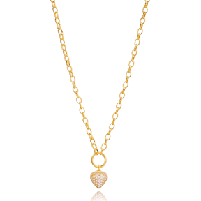 Zircon Stone Heart Charm Hoop Cable Chain Pendant Necklace Turkish 925 Sterling Silver Jewelry