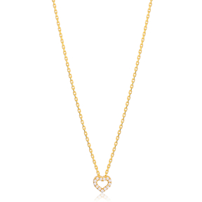 Trend Cable Chain Zircon Stone Hollow Heart Charm Necklace Turkish 925 Sterling Silver Jewelry