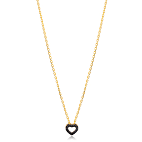 Newest Black Zircon Hollow Heart Charm Necklace Turkish 925 Sterling Silver Jewelry