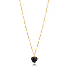 Fashion Heart Design Black Zircon Charm Necklace Turkish 925 Sterling Silver Jewelry