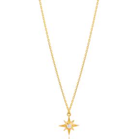 Fine North Star Charm Zircon Stone Necklace Turkish 925 Sterling Silver Jewelry