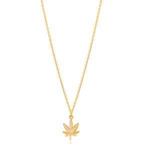 Dainty Leaf Charm Zircon Stone Chain Necklace Turkish 925 Sterling Silver Jewelry