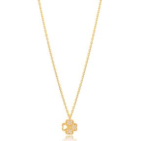 Unique Design Four Leaf Clover Zircon Stone Necklace Turkish 925 Sterling Silver Jewelry