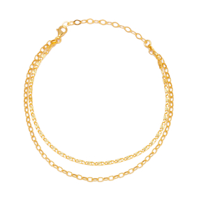 Double Chain Design Layered Chain Anklet Wholesale Handmade 925 Sterling Silver Jewelry