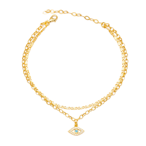 Turquoise and Zircon Stone Eye Charm Snail and Link Chain Anklet Wholesale Handmade 925 Sterling Silver Jewelry