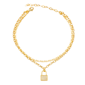 Padlock Chain Design Dual Chain Anklet Wholesale Handmade 925 Sterling Silver Jewelry