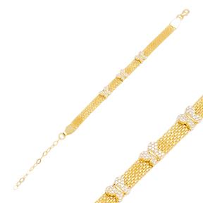 Lovely Butterfly Design Mesh Chain Bracelet Handmade Wholesale Turkish 925 Sterling Silver Jewelry